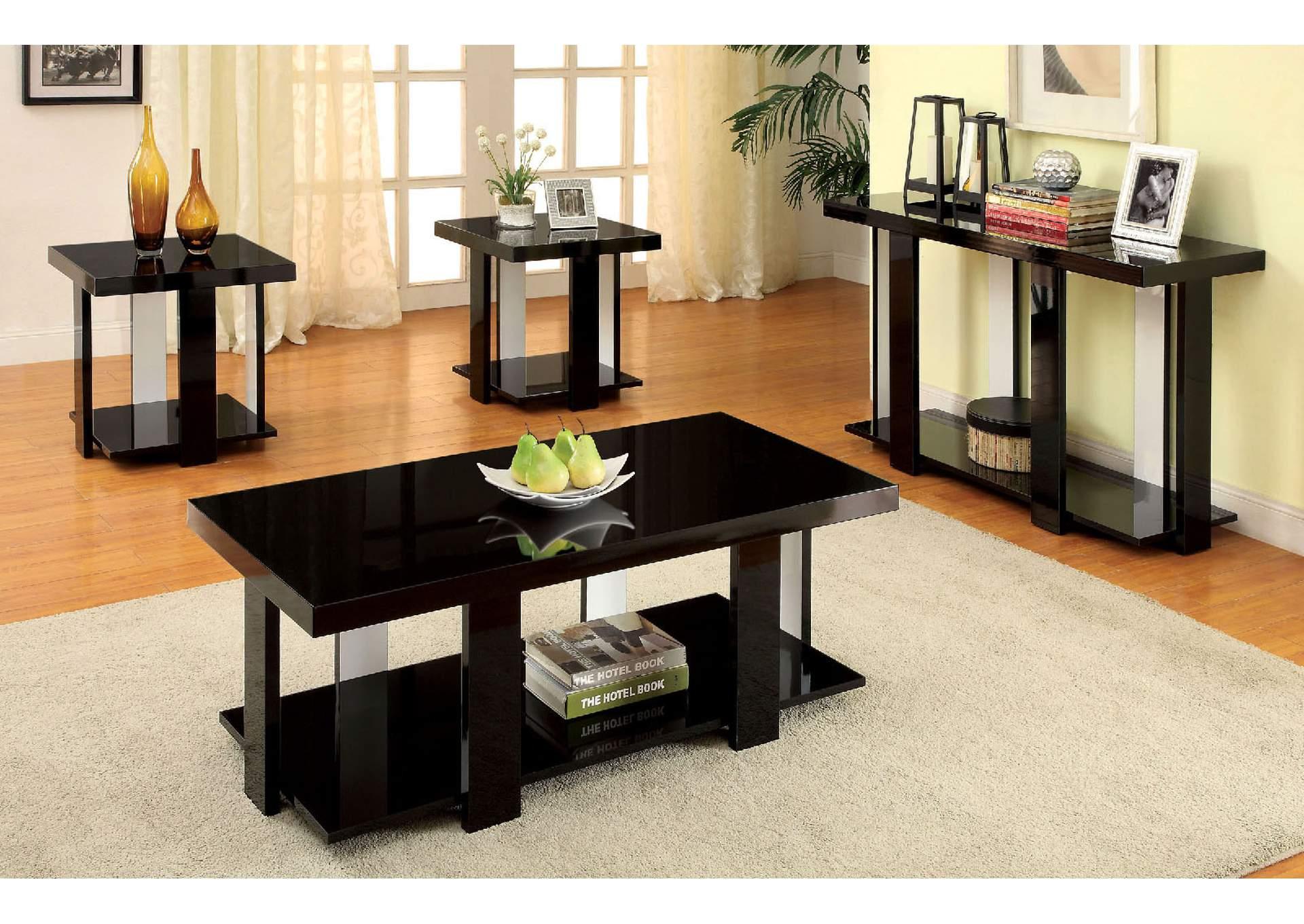 Lakoti l 3 Piece Black Lacquer Table Set w/Open Shelf (Coffee \u0026 2 & Hollywood Mattress and Furniture Lakoti l 3 Piece Black Lacquer ...