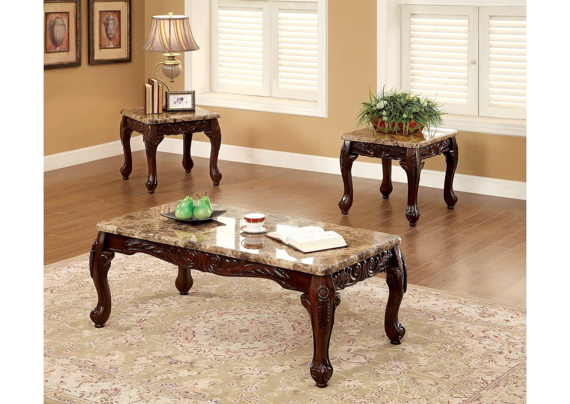 Broadway Furniture Lechester 3 Piece Dark Oak Table Set W Faux