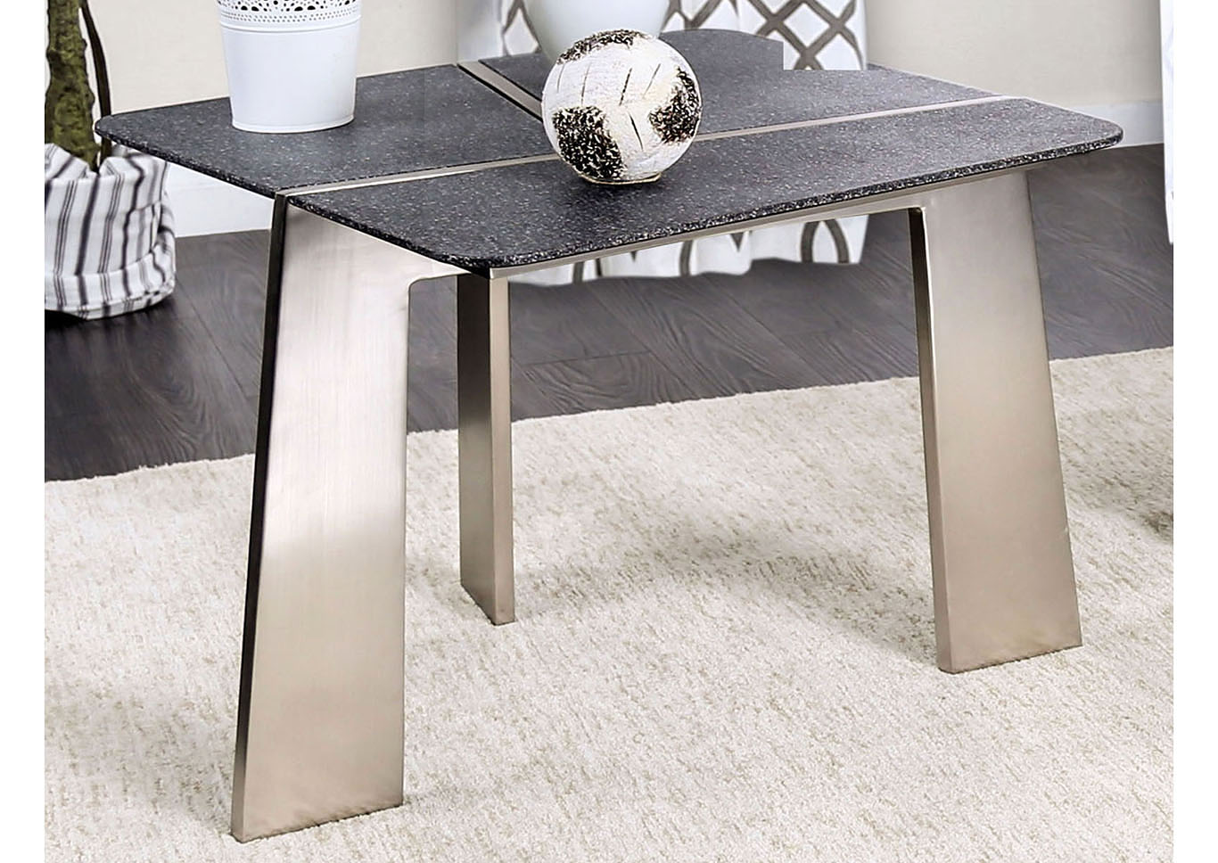 Shannon Gray/Champagne End Table,Furniture of America