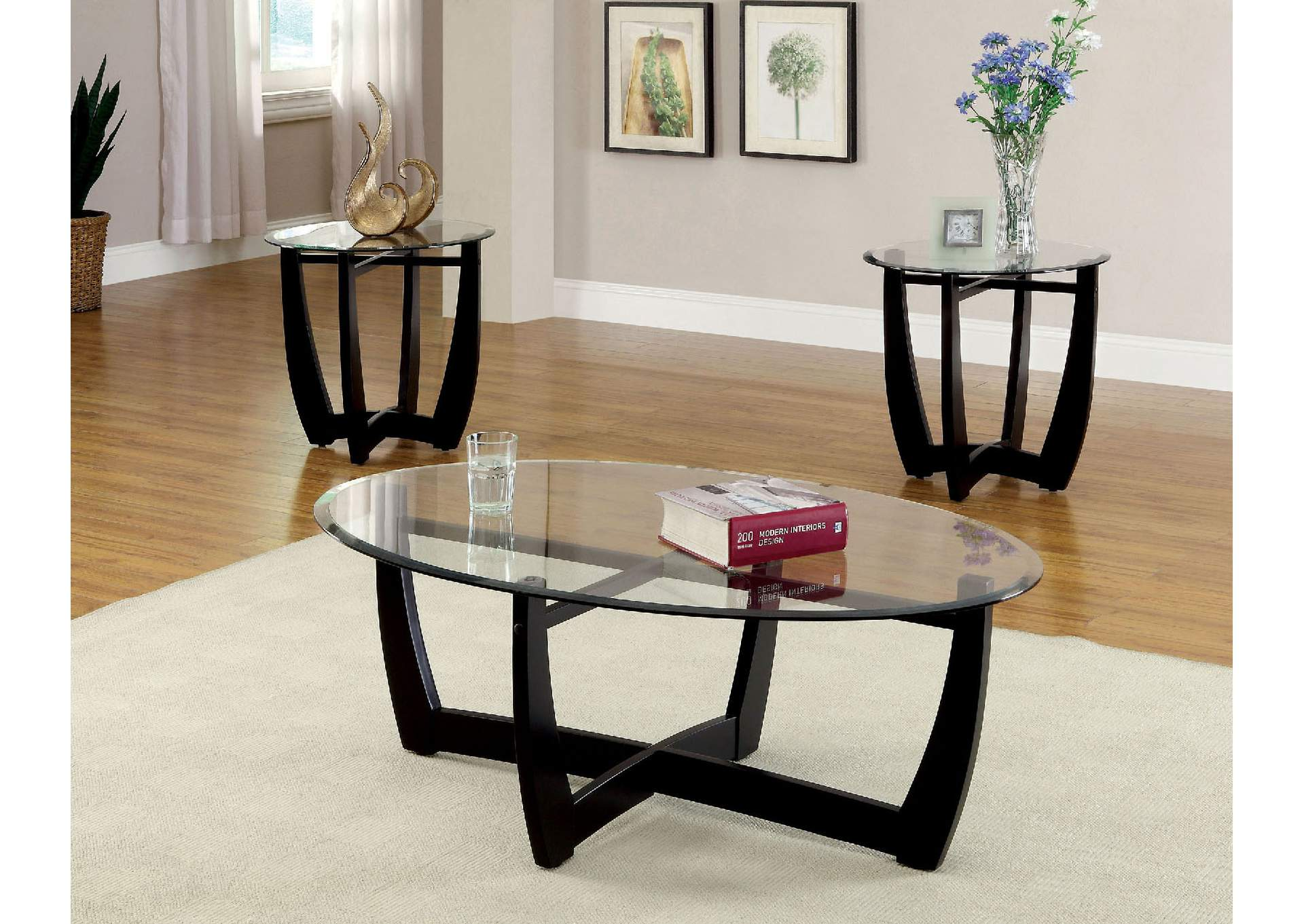 Dafni 3 Piece Black Tempered Glass Top Table Set w/Modern Style Legs (Coffee & Cohenu0027s Furniture - New Castle DE Dafni 3 Piece Black Tempered ...