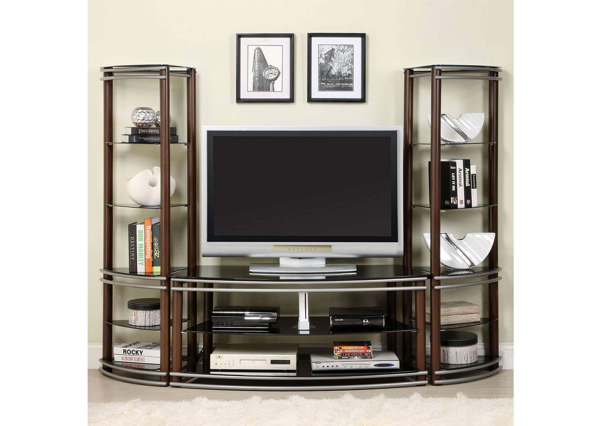 Silver Creek Brown & Silver Glass Top TV Console,Furniture of America