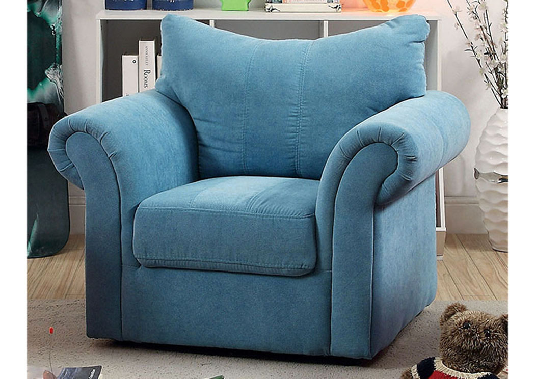 Irma Blue Curved-Back Kids Arm Chair,Furniture of America