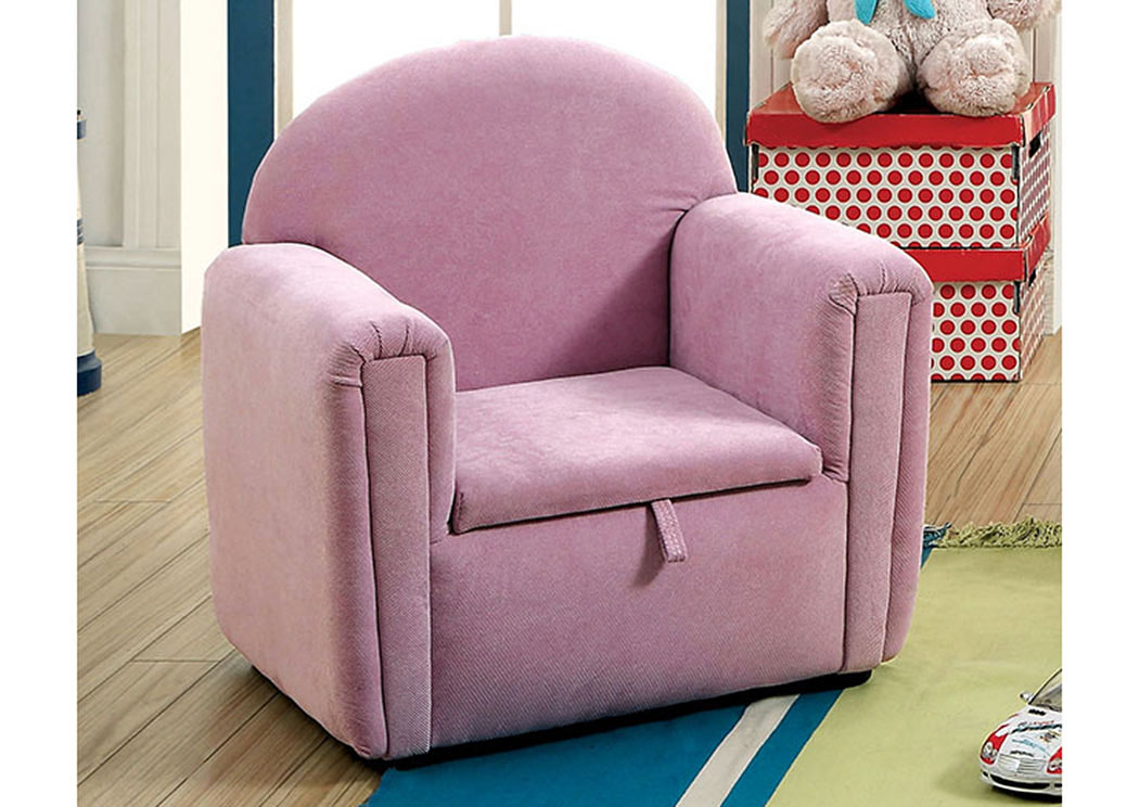 Ginny Purple Kids Arm Chair w/Storage,Furniture of America