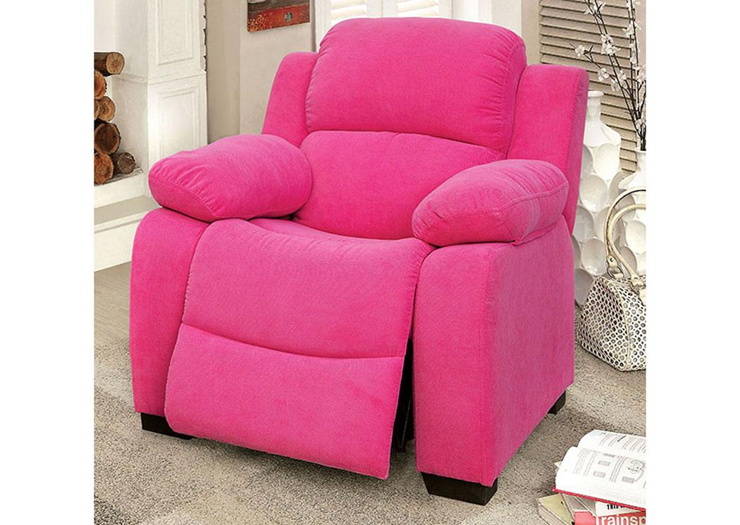 Connie Pink Kids Recliner Chair W/Storage,Furniture Of America