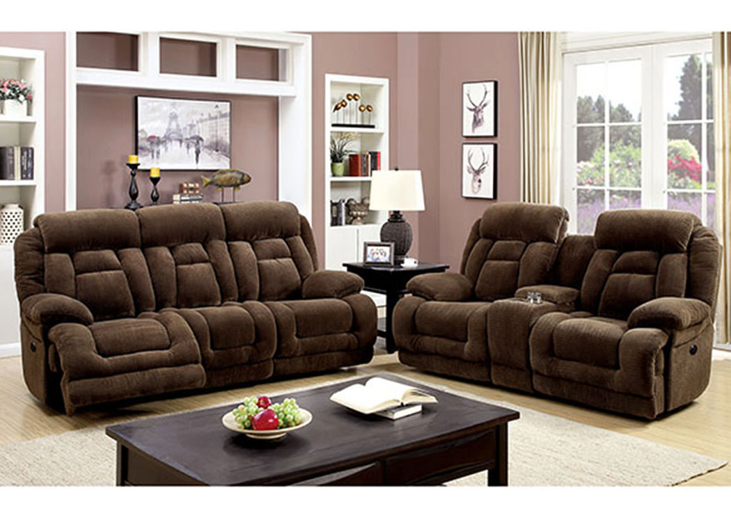 Grenville Brown Power-Assist Reclining Sofa and Loveseat,Furniture of America