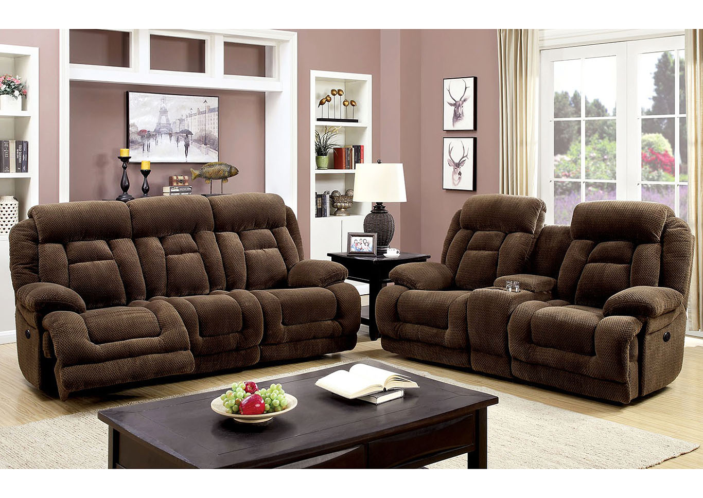 Grenville Brown Power-Assist Reclining Sofa,Furniture of America
