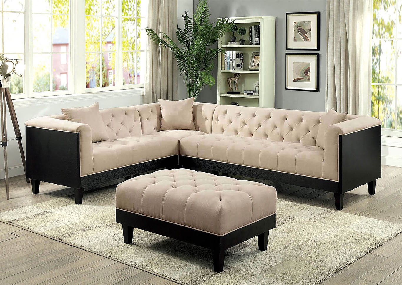 Hillary Beige Sectional,Furniture of America