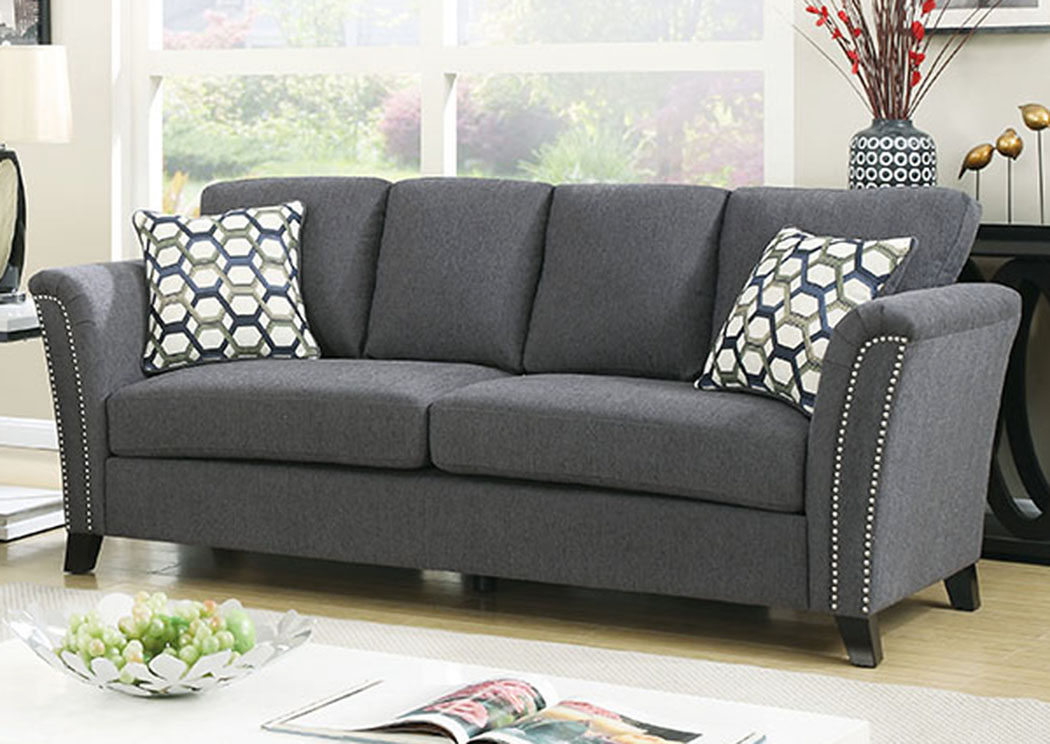 Palace Furniture Campbell Gray Sofa W Accent Pillows