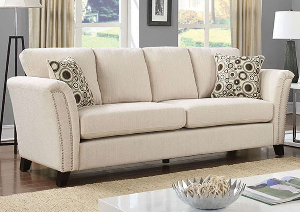 Campbell Ivory Sofa W/Accent Pillows,Furniture Of America