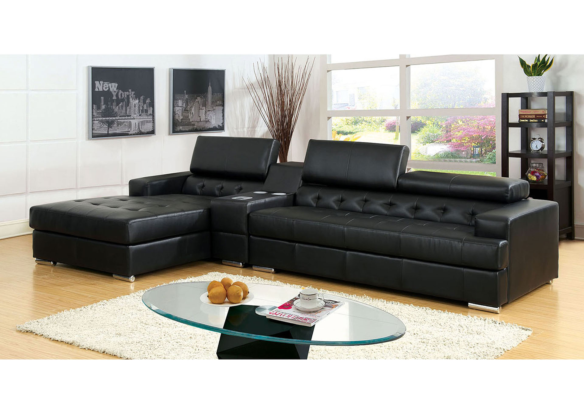 Floria Black Bonded Leather Sectional w/Speaker Console,Furniture of America