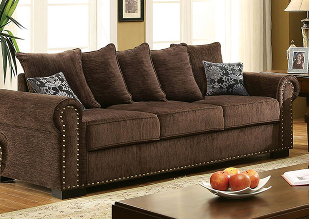 Rydel Brown Chenille Sofa W/Pillows,Furniture Of America