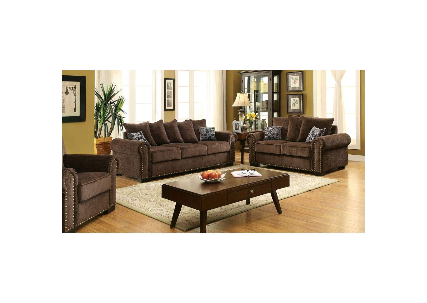 Rydel Brown Chenille Sofa and Loveseat w/Pillows,Furniture of America