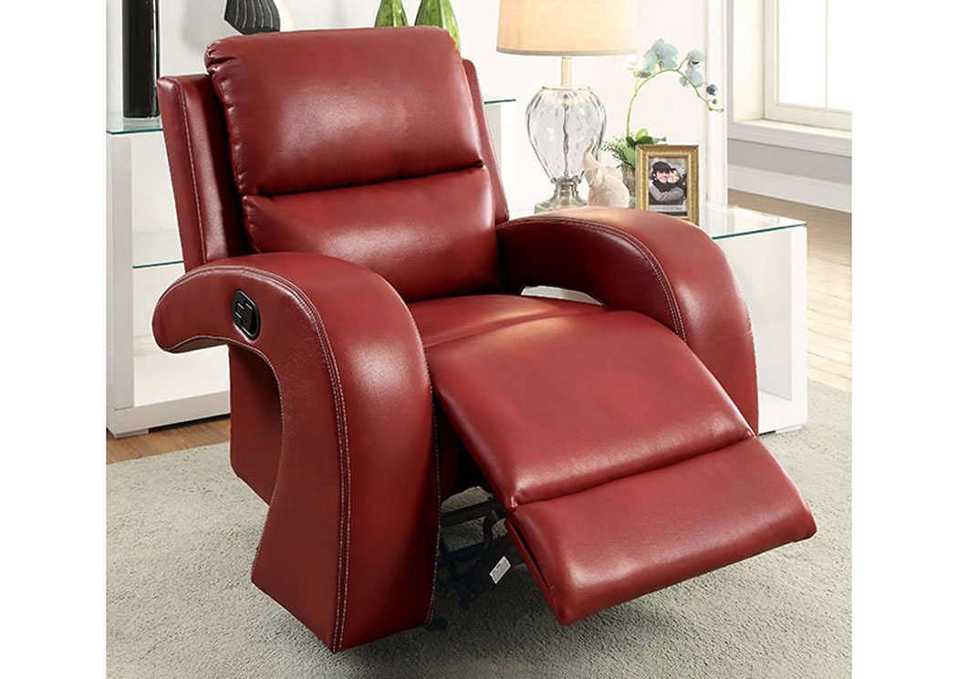 Odette Red Leatherette Recliner,Furniture of America
