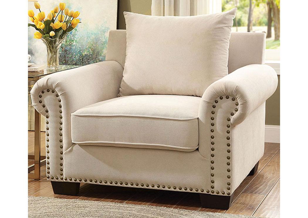 lion furniture center skyler ivory chenille chair w