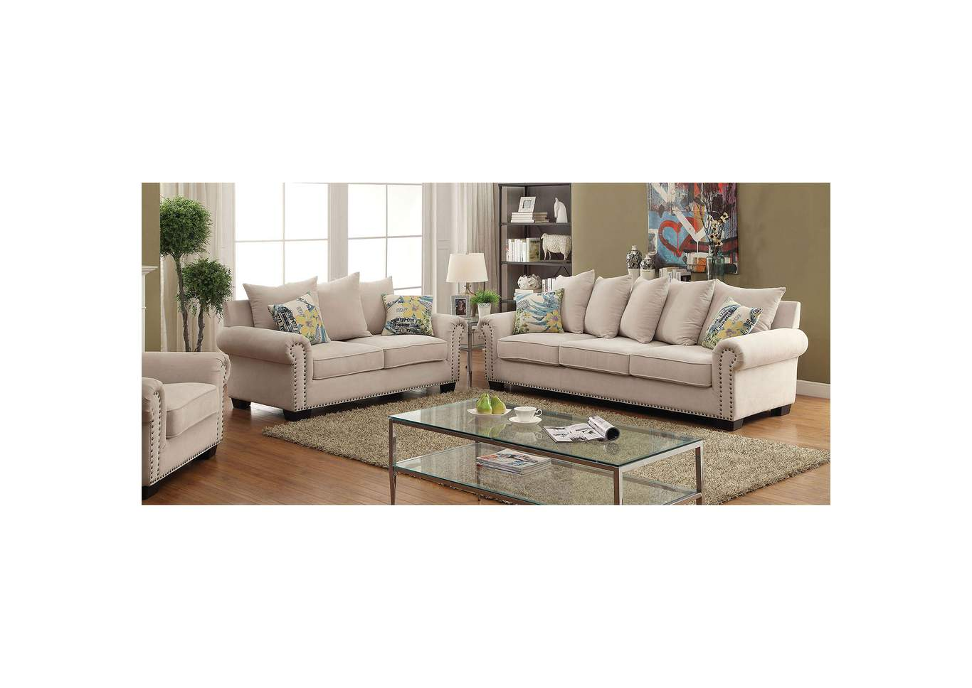 Skyler Ivory Chenille Sofa And Loveseat W/Pillows,Furniture Of America