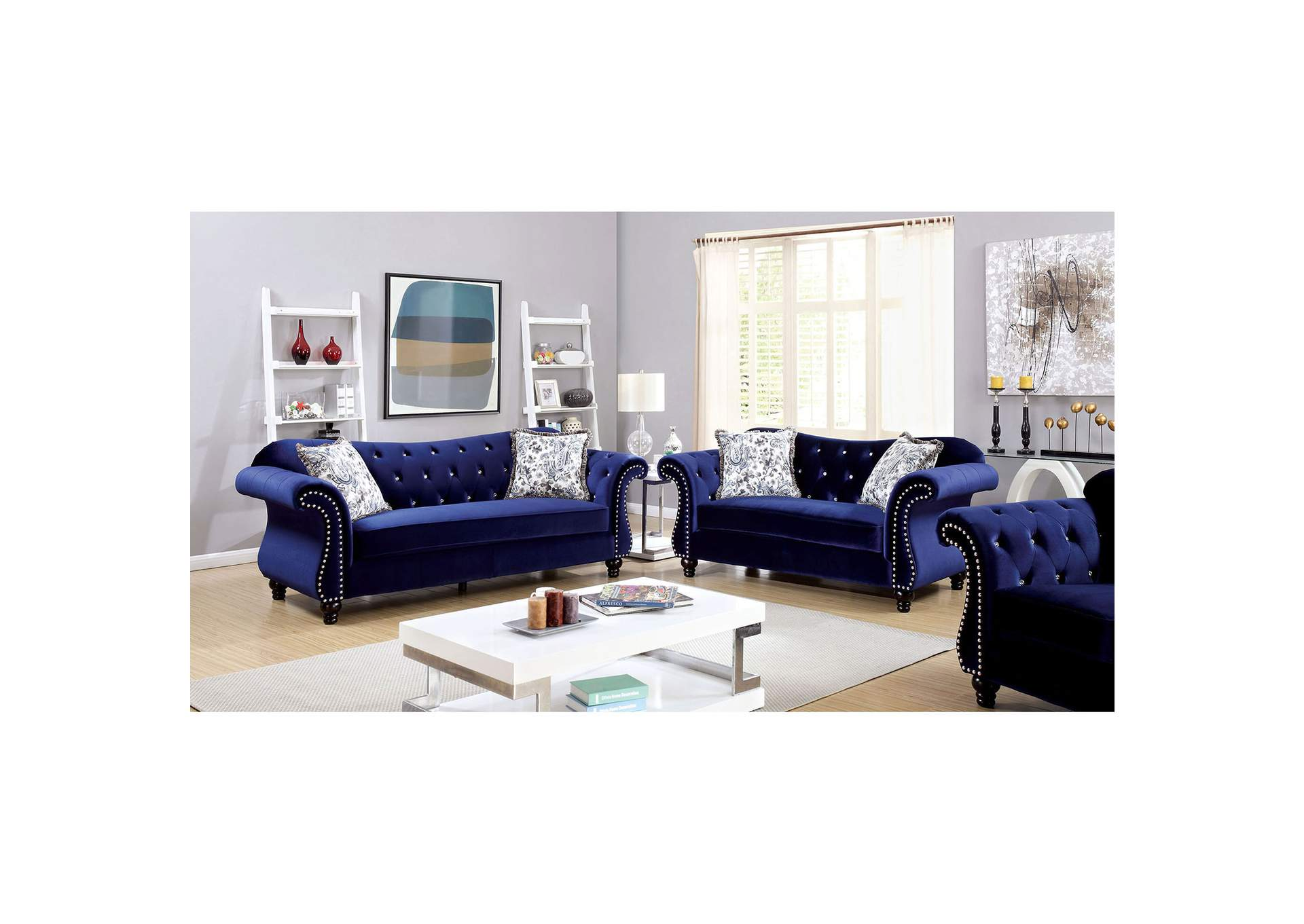 Broadway Furniture Jolanda Blue Curved Back Sofa And Loveseat