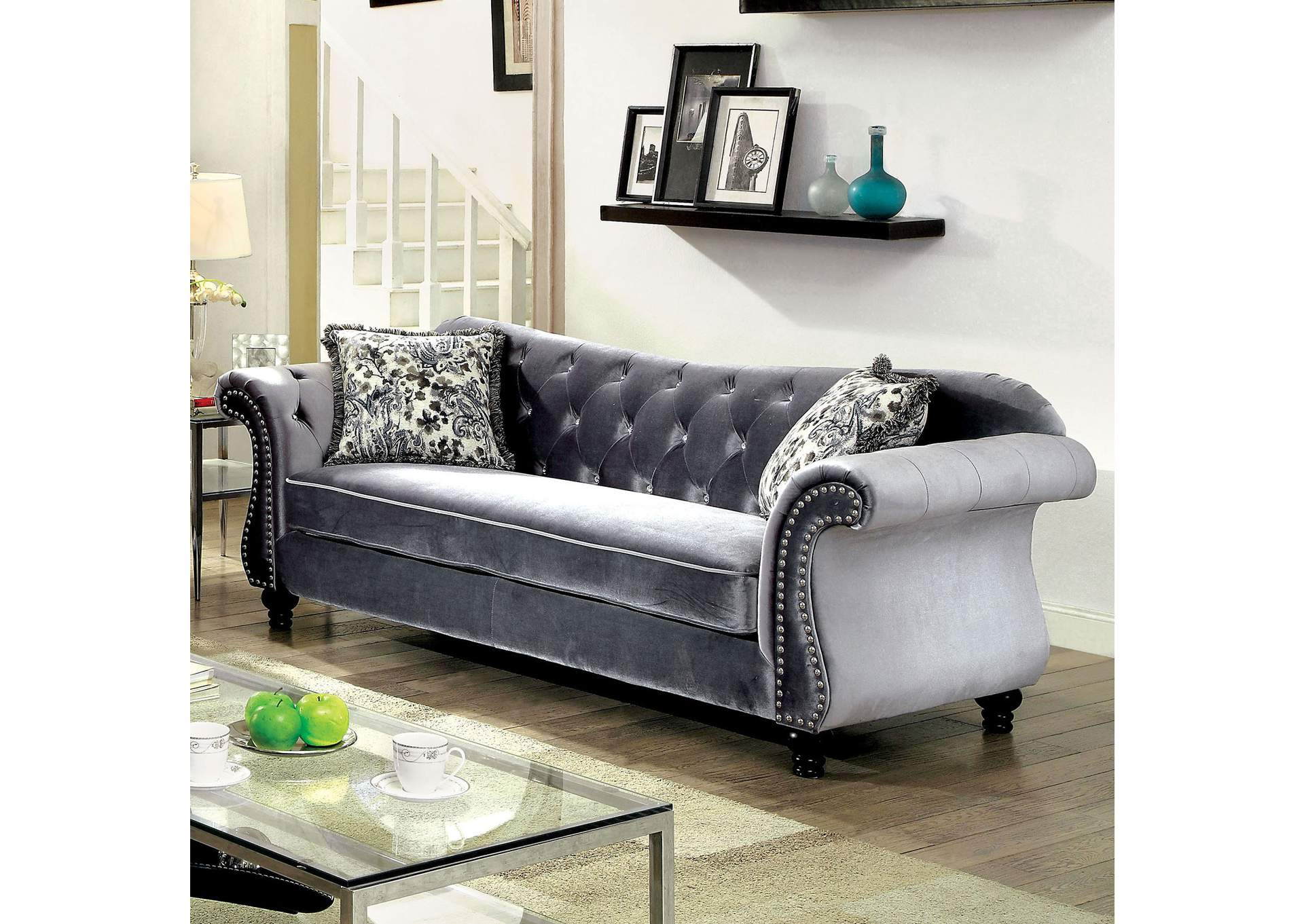Jolanda Gray Curved Back Sofa,Furniture Of America