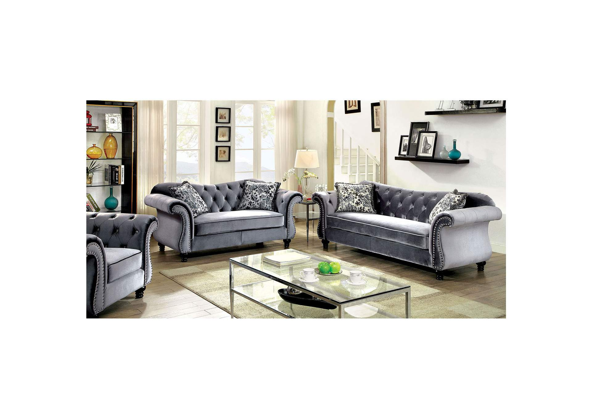 Jolanda Gray Curved Back Sofa And Loveseat,Furniture Of America