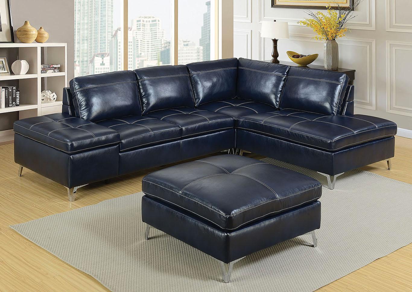 519433 Sadie Dark Blue Leather Sectional w/Ottoman