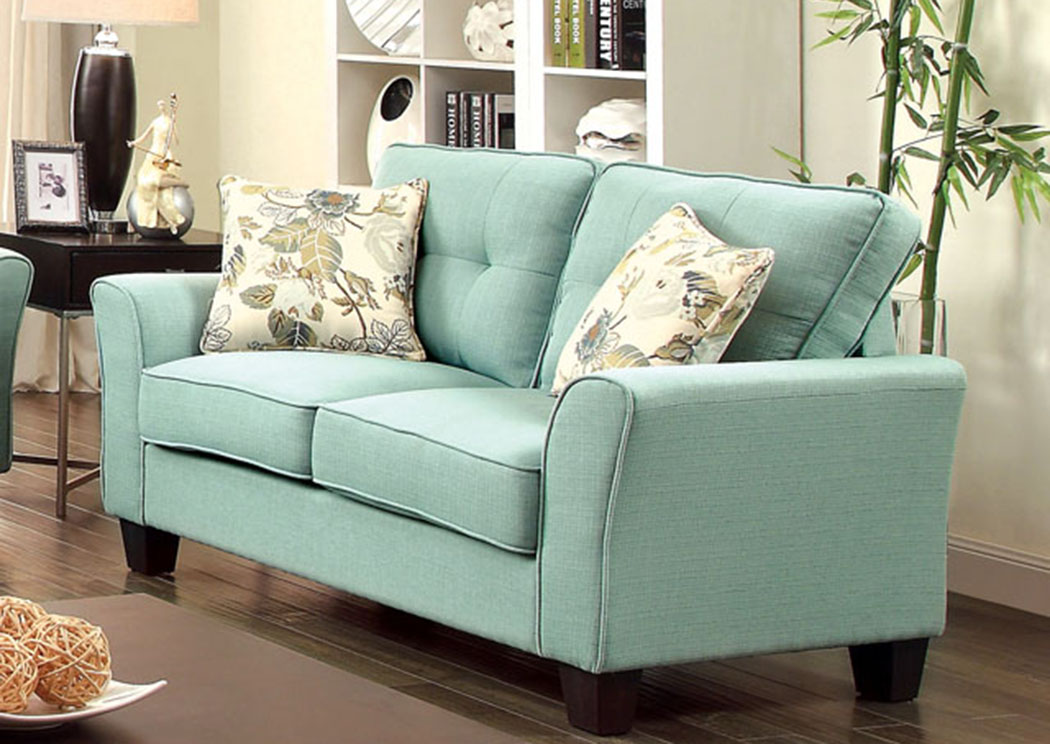Claire Blue Love Seat W/2 Pc Pillow,Furniture Of America