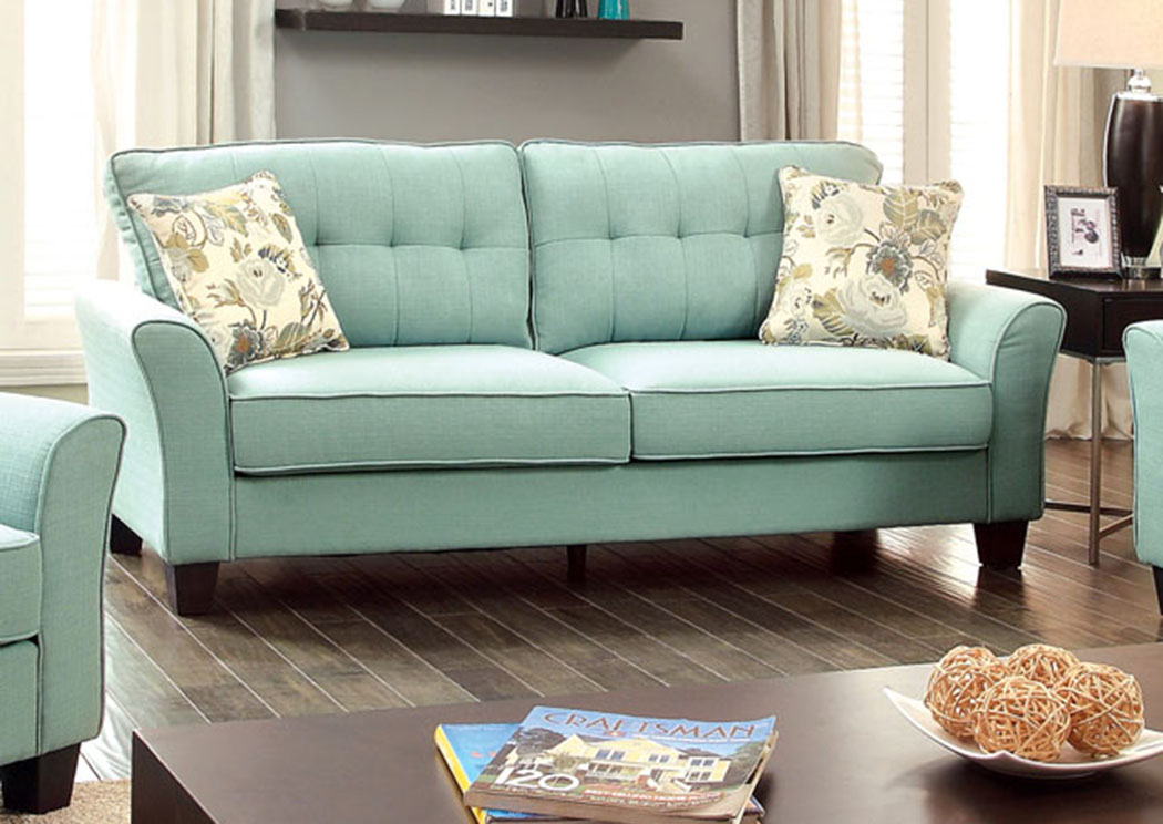 Claire Blue Sofa W/2 Pc Pillow,Furniture Of America