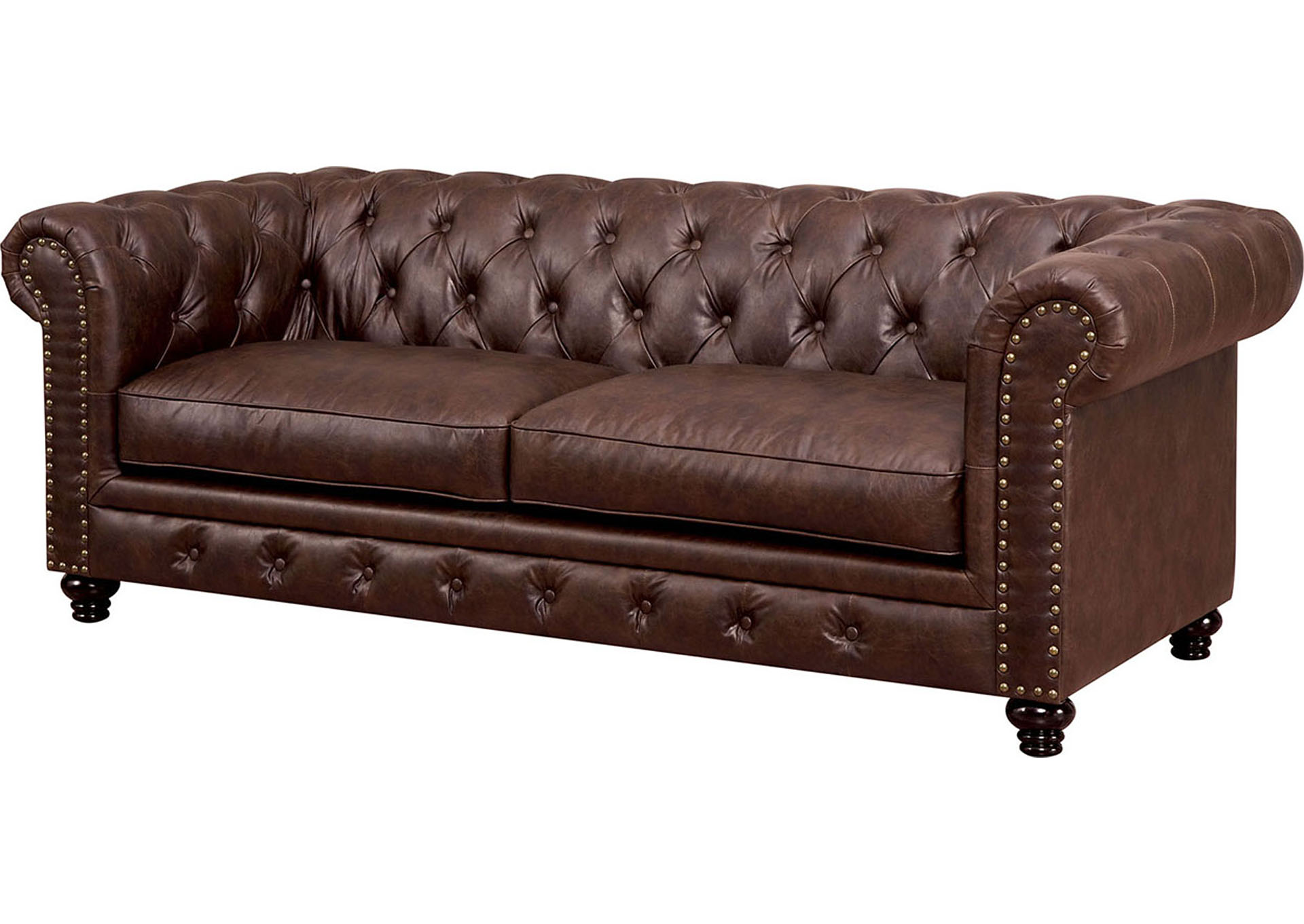 Stanford Brown Leatherette Sofa,Furniture of America