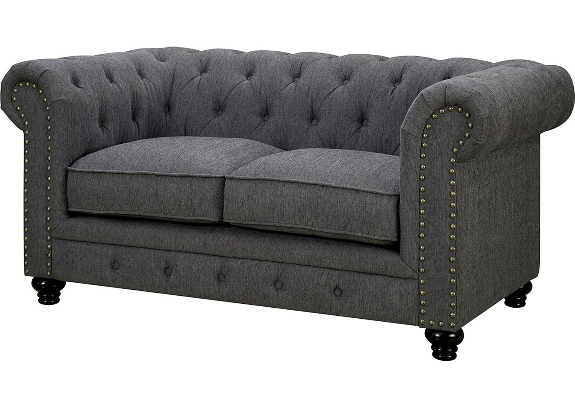 Stanford Gray Loveseat,Furniture of America
