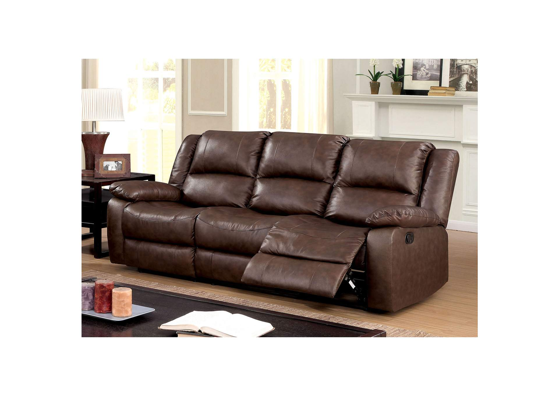 Best Buy Furniture and Mattress Kris Brown Sofa w/2 Recliners