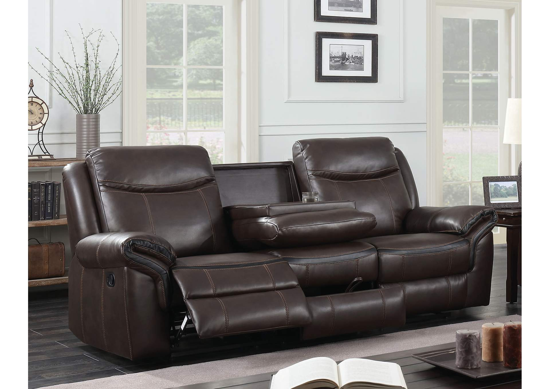 Chenai Brown Leather Gel Reclining Sofa,Furniture of America