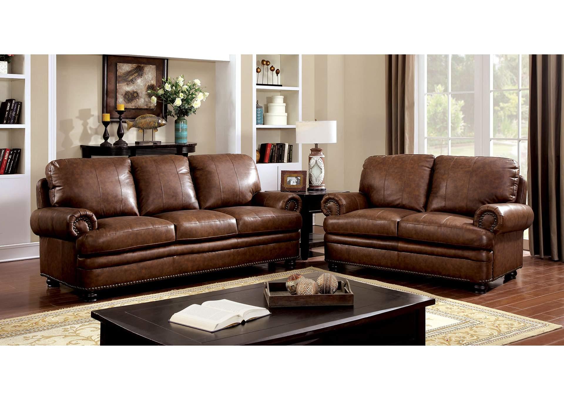 Beverly Hills Furniture Queens Rheinhardt Dark Brown Sofa And