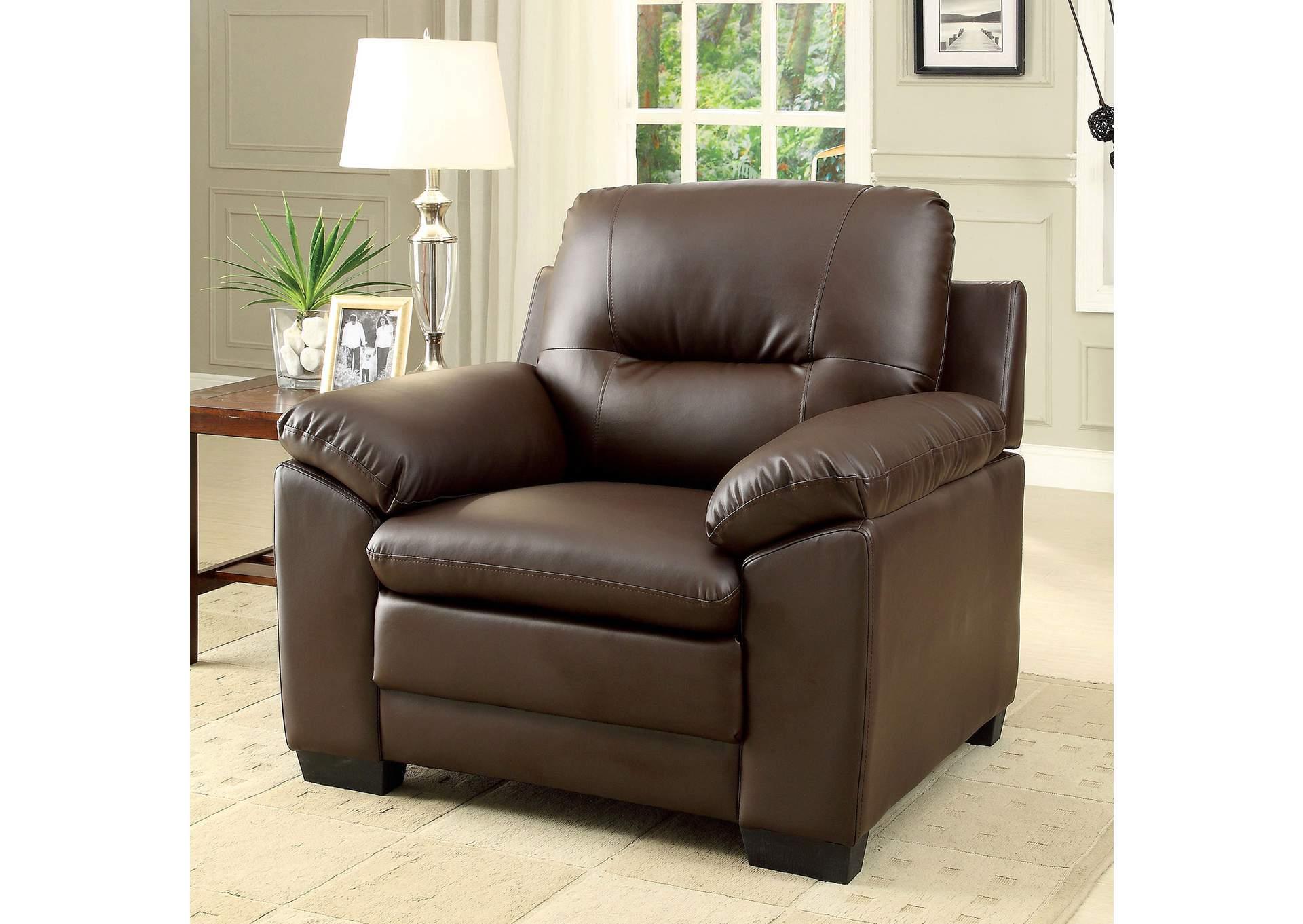 Parma Brown Polyurethane Single Chair,Furniture Of America