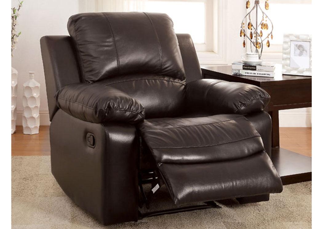 Long Island Discount Furniture Davenport Rustic Dark Brown Recliner W Top Grain Leather Match