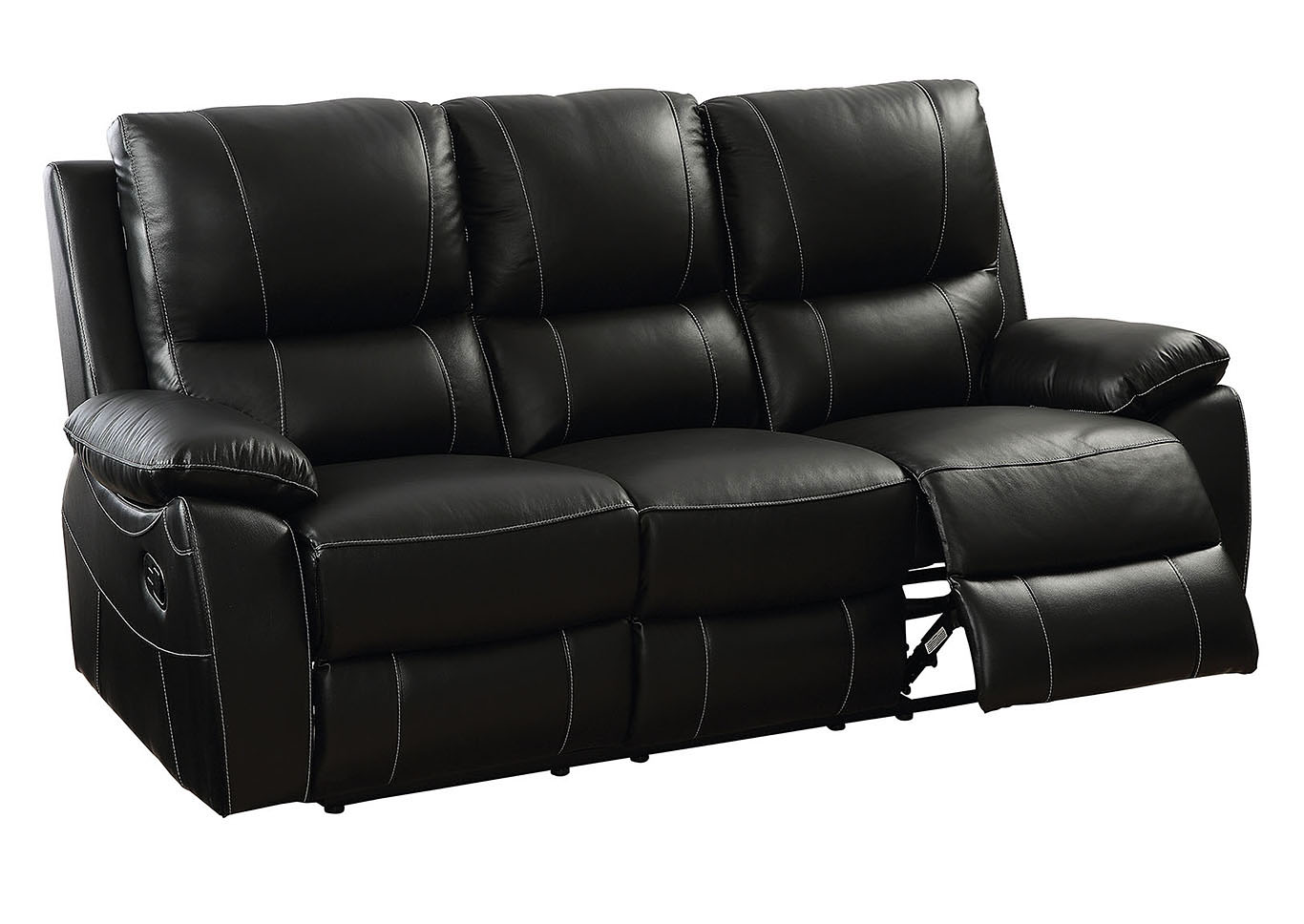 Factory Expo Furniture Nena Black Top Grain Leather Reclining Sofa