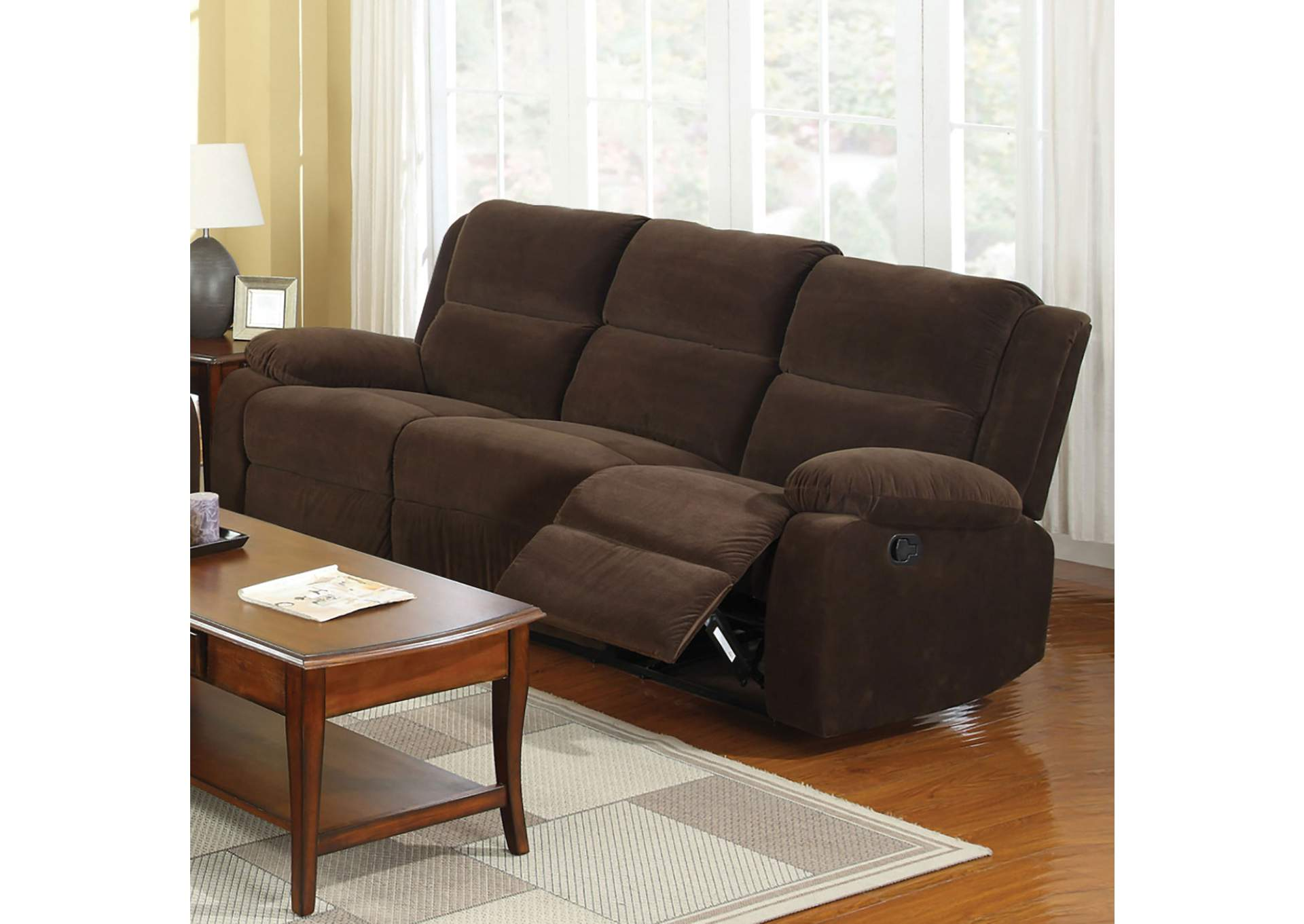 252868 Haven Dark Brown Sofa w/2 Recliners