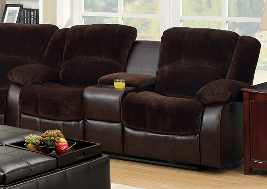 Winchester Brown Champion Loveseat w/2 Recliners  and Center Console,Furniture of America