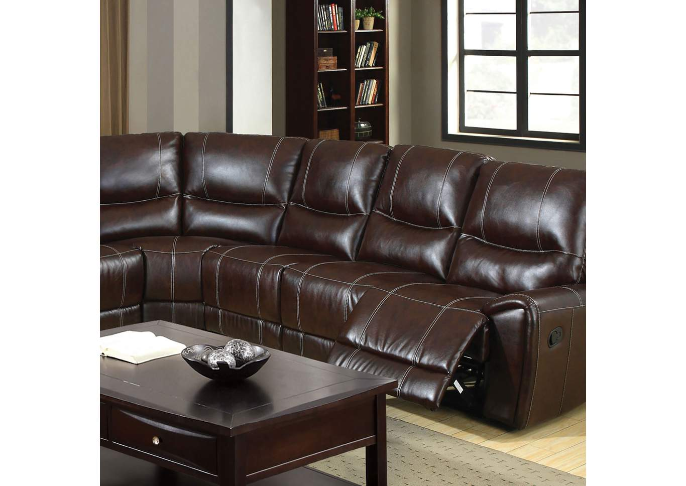 Keystone Brown Sectional,Furniture of America