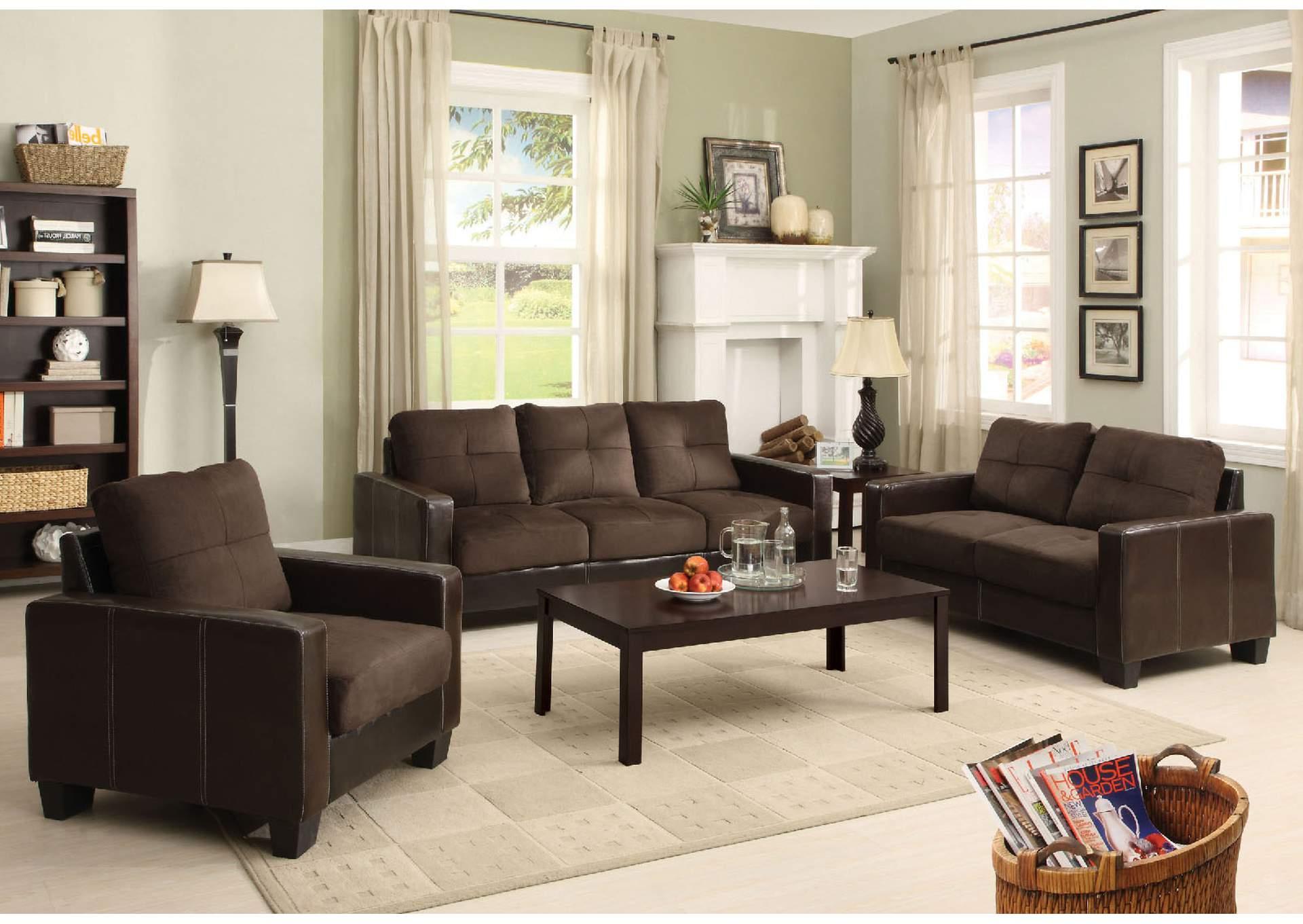 Laverne Chocolate Sofa And Loveseat,Furniture Of America