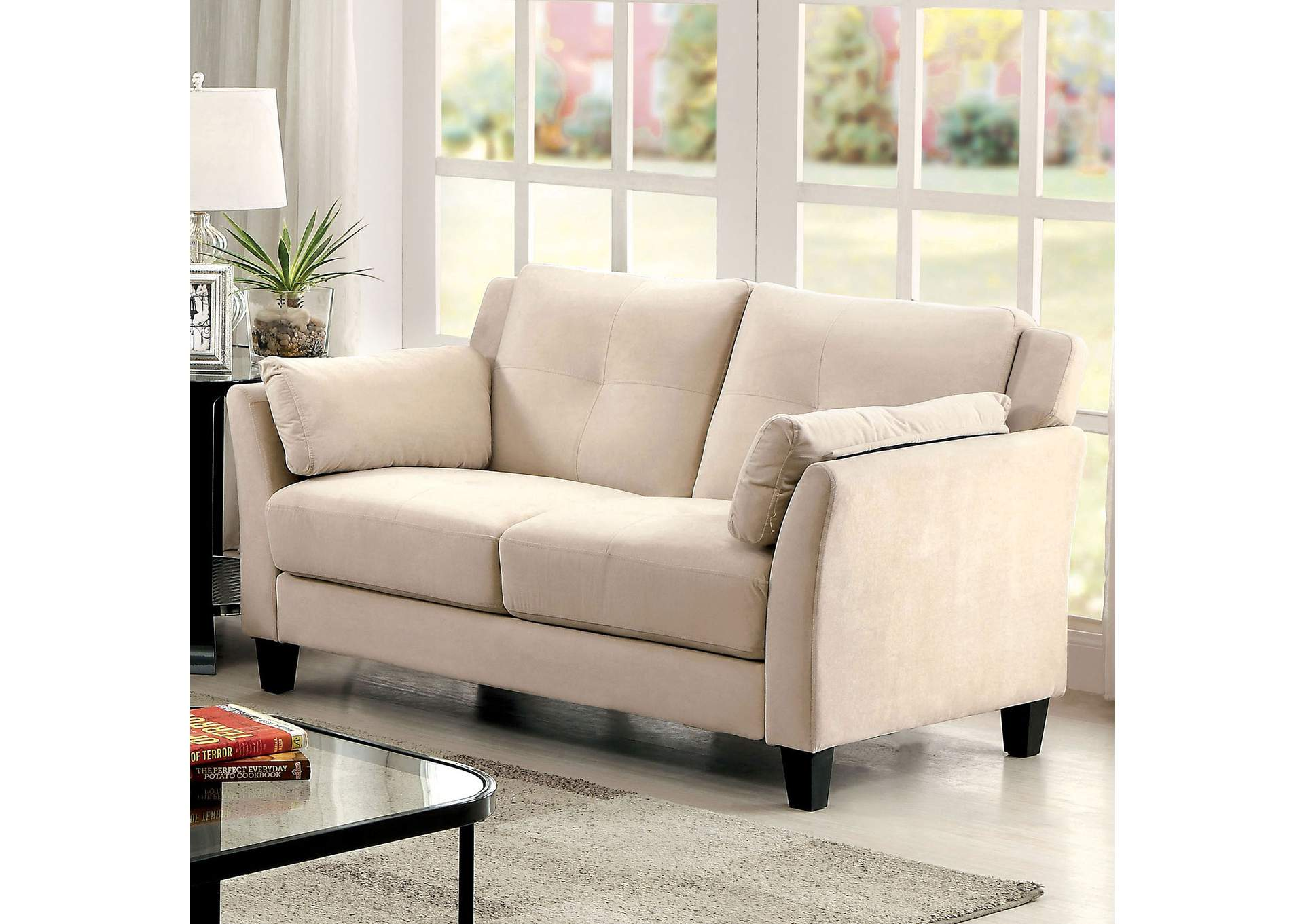 Add Charm Living Room Sets Ysabel Beige Loveseat,Furniture of America