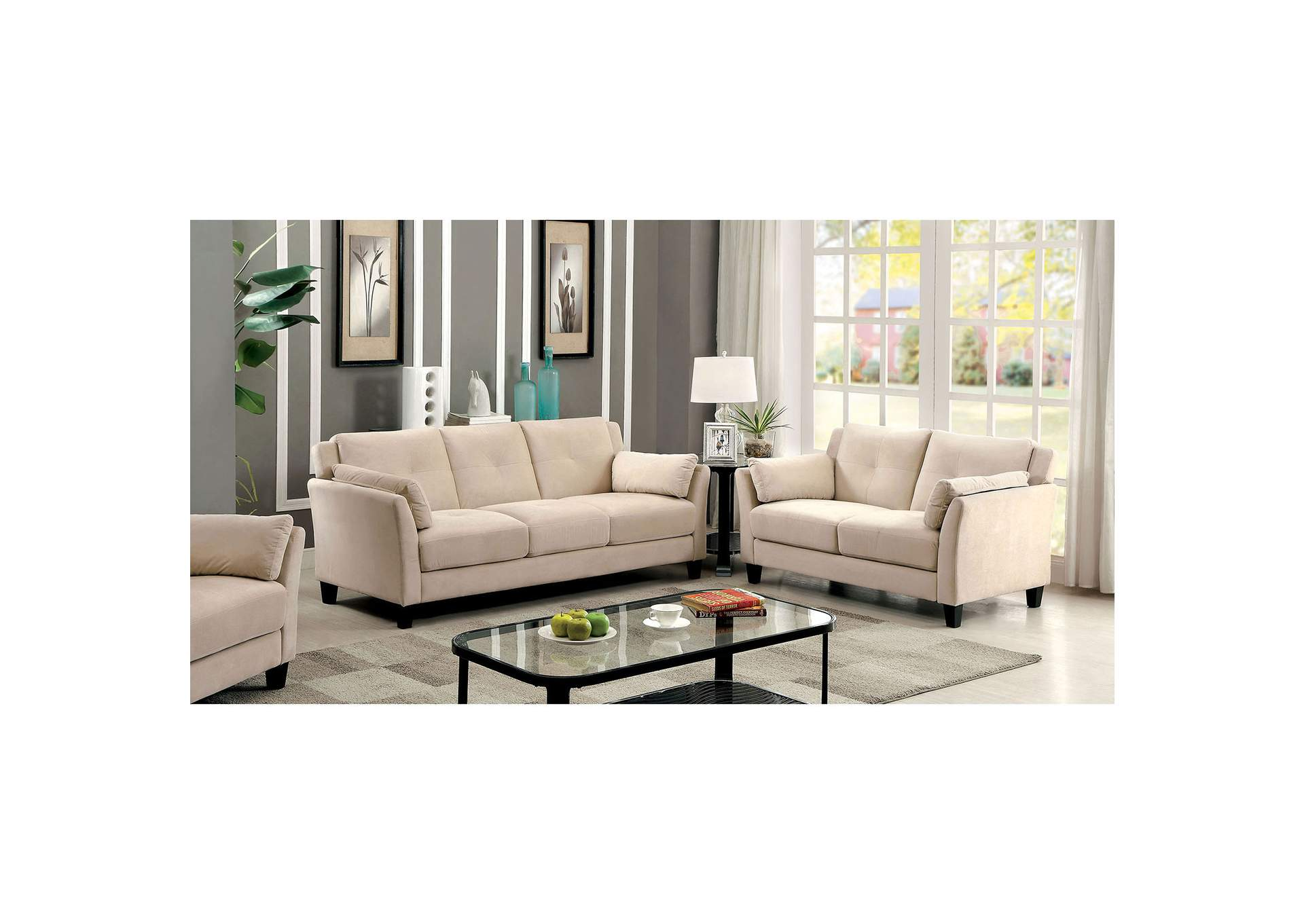 Add Charm Living Room Sets Ysabel Beige Sofa,Furniture of America