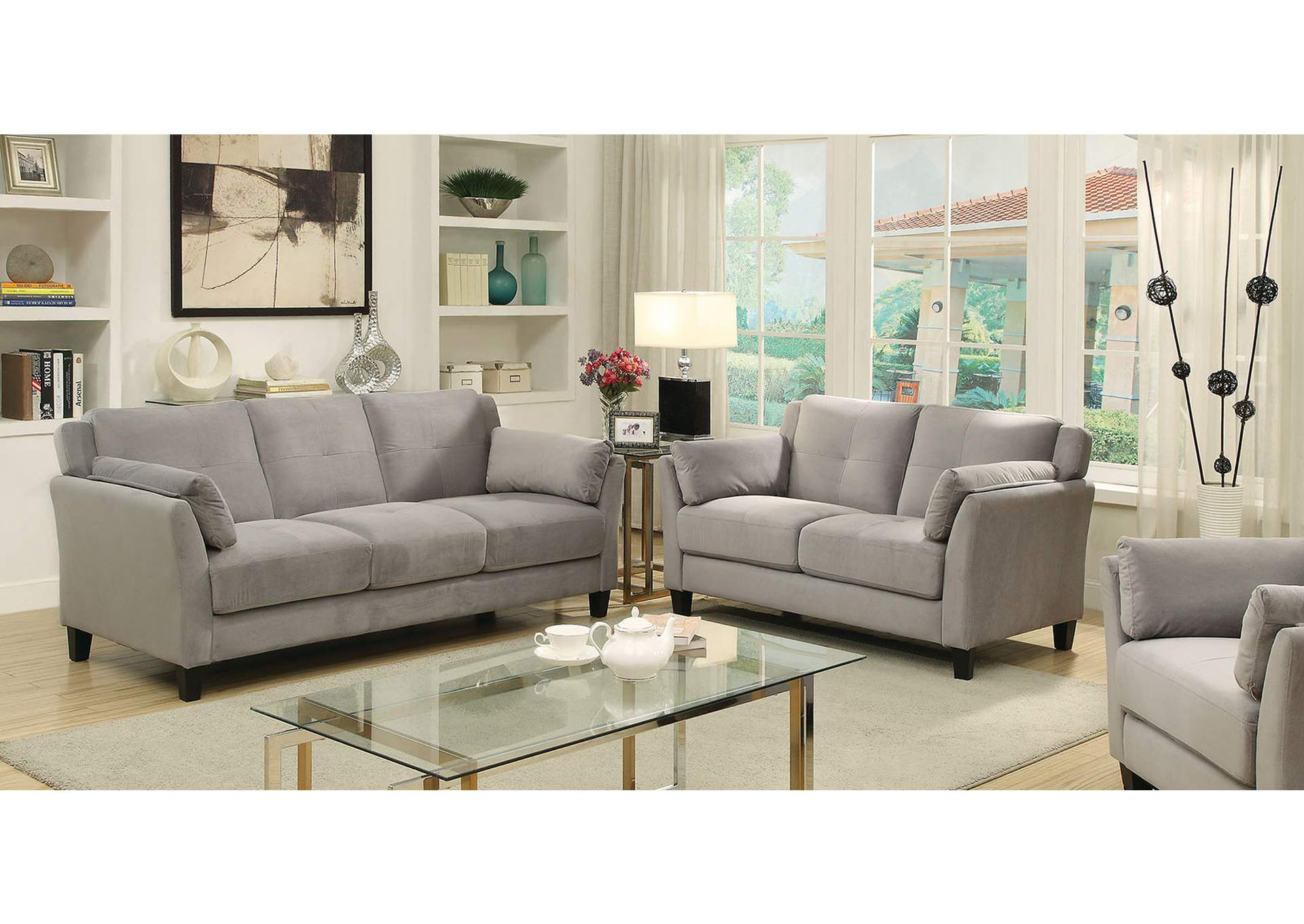 Best Buy Furniture and Mattress Ysabel Warm Gray Sofa and ...