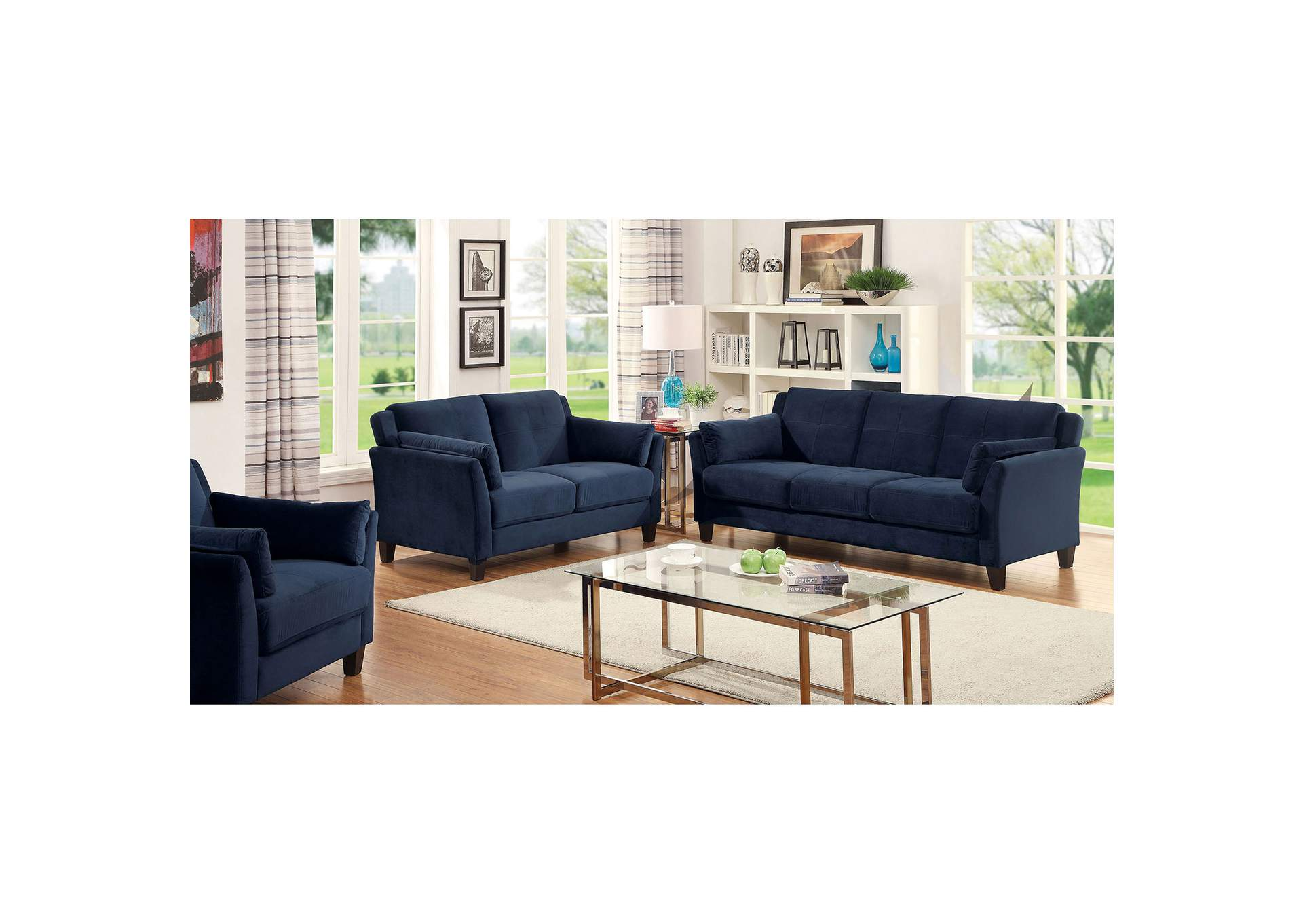 Add Charm Living Room Sets Ysabel Navy Sofa and Loveseat,Furniture of America