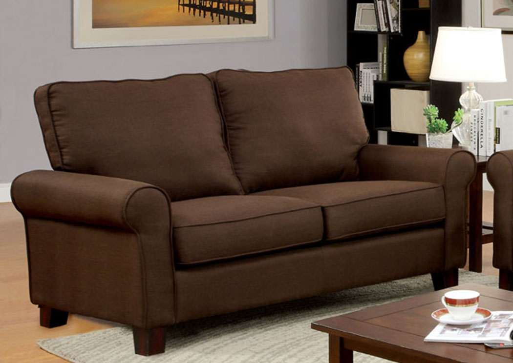 Hensel Brown Flax Fabric Loveseat,Furniture Of America