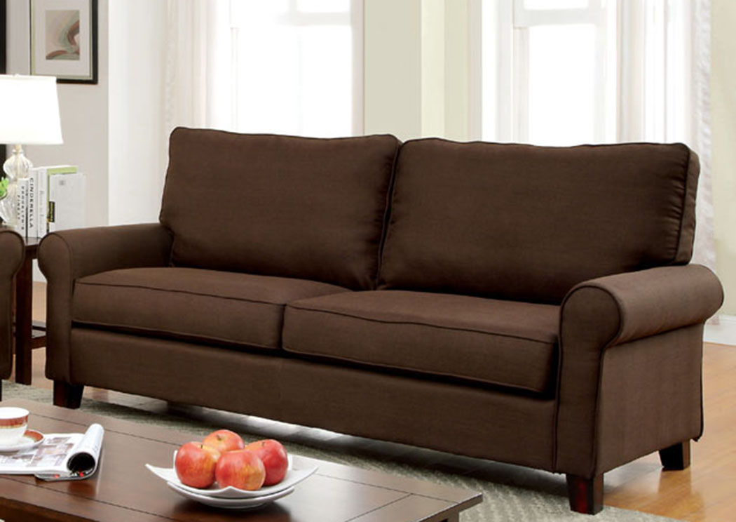 Hensel Brown Flax Fabric Sofa,Furniture Of America