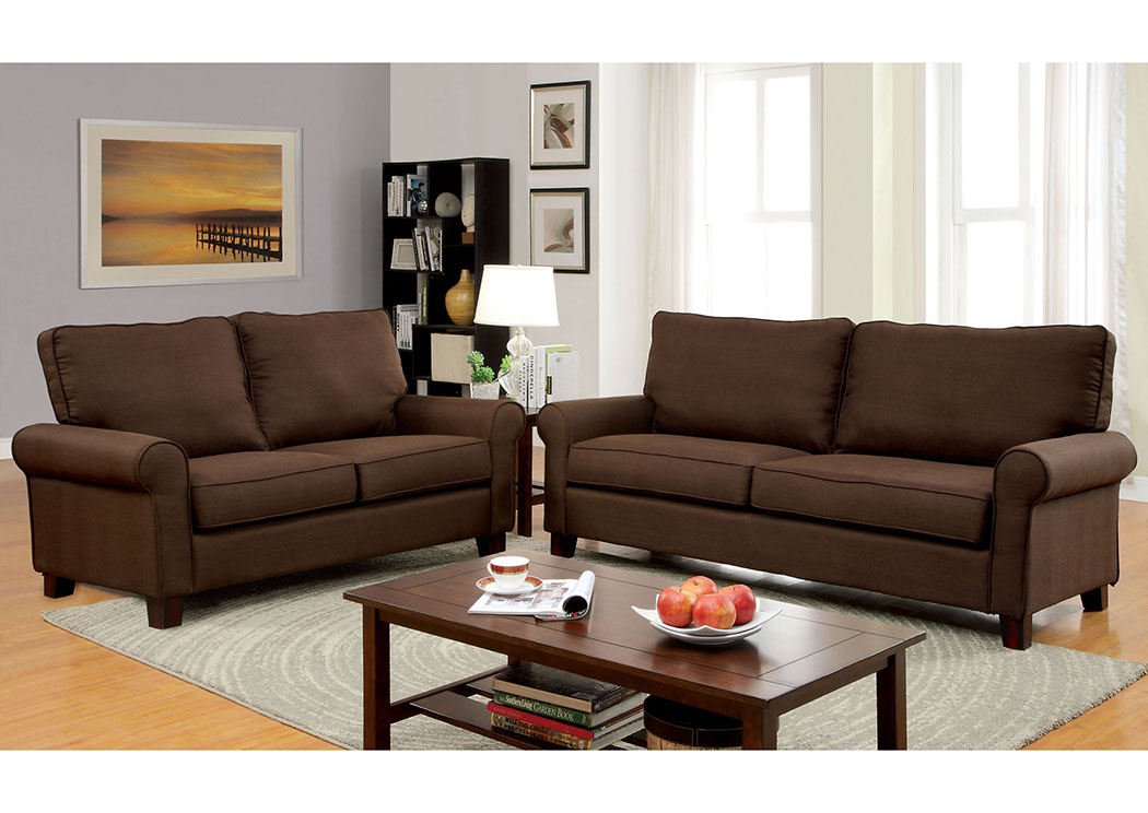 Hensel Brown Flax Fabric Sofa and Loveseat,Furniture of America