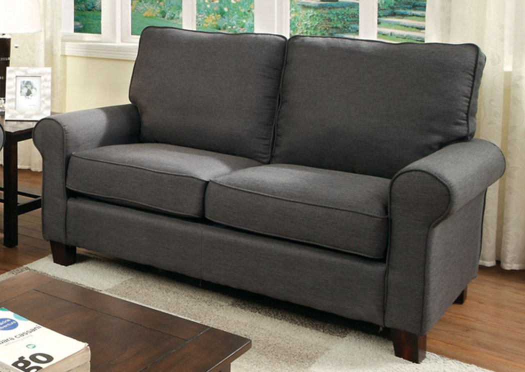 Hensel Gray Flax Fabric Loveseat,Furniture of America