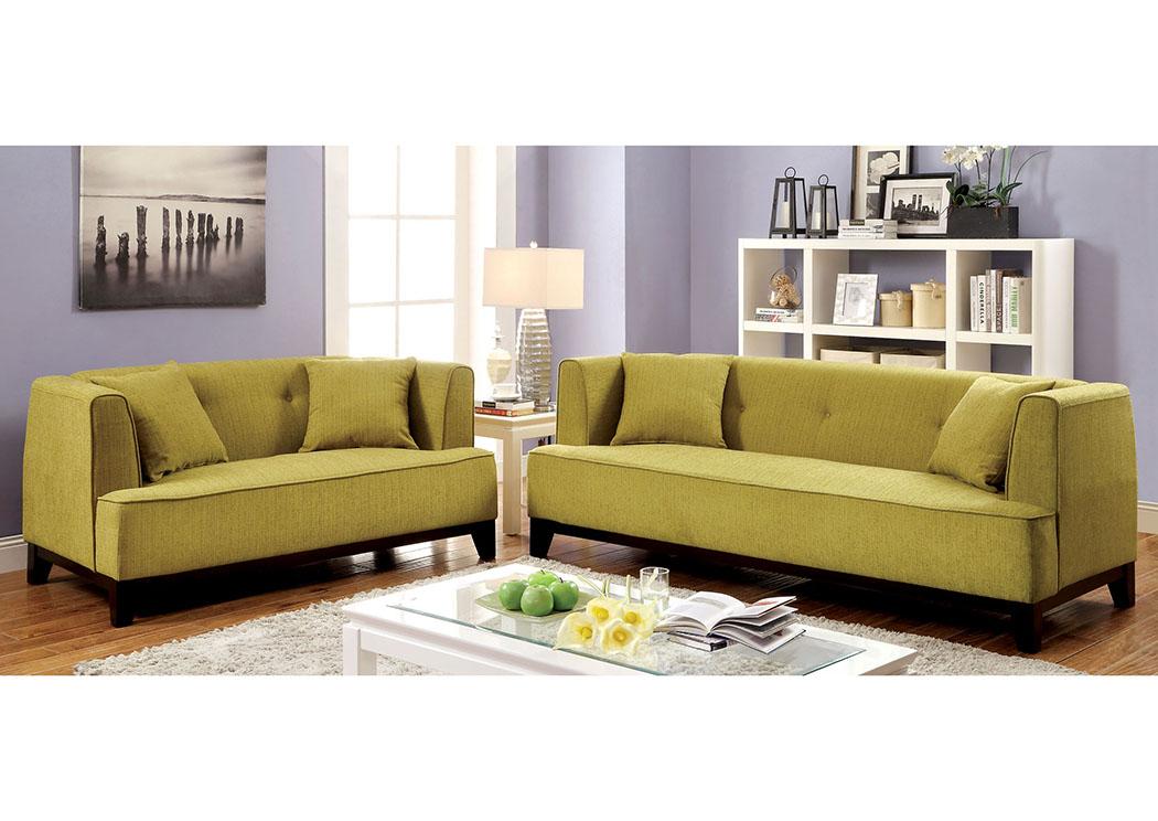 Sofia Lemongrass Sofa And Loveseat,Furniture Of America