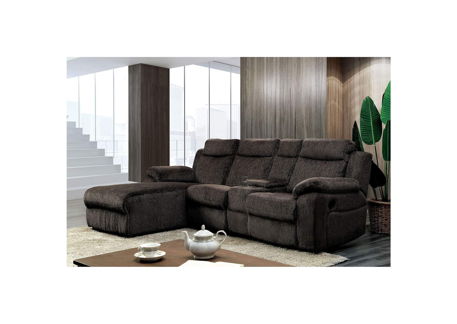 Kamryn Brown Chenille Sectional w/Console,Furniture of America