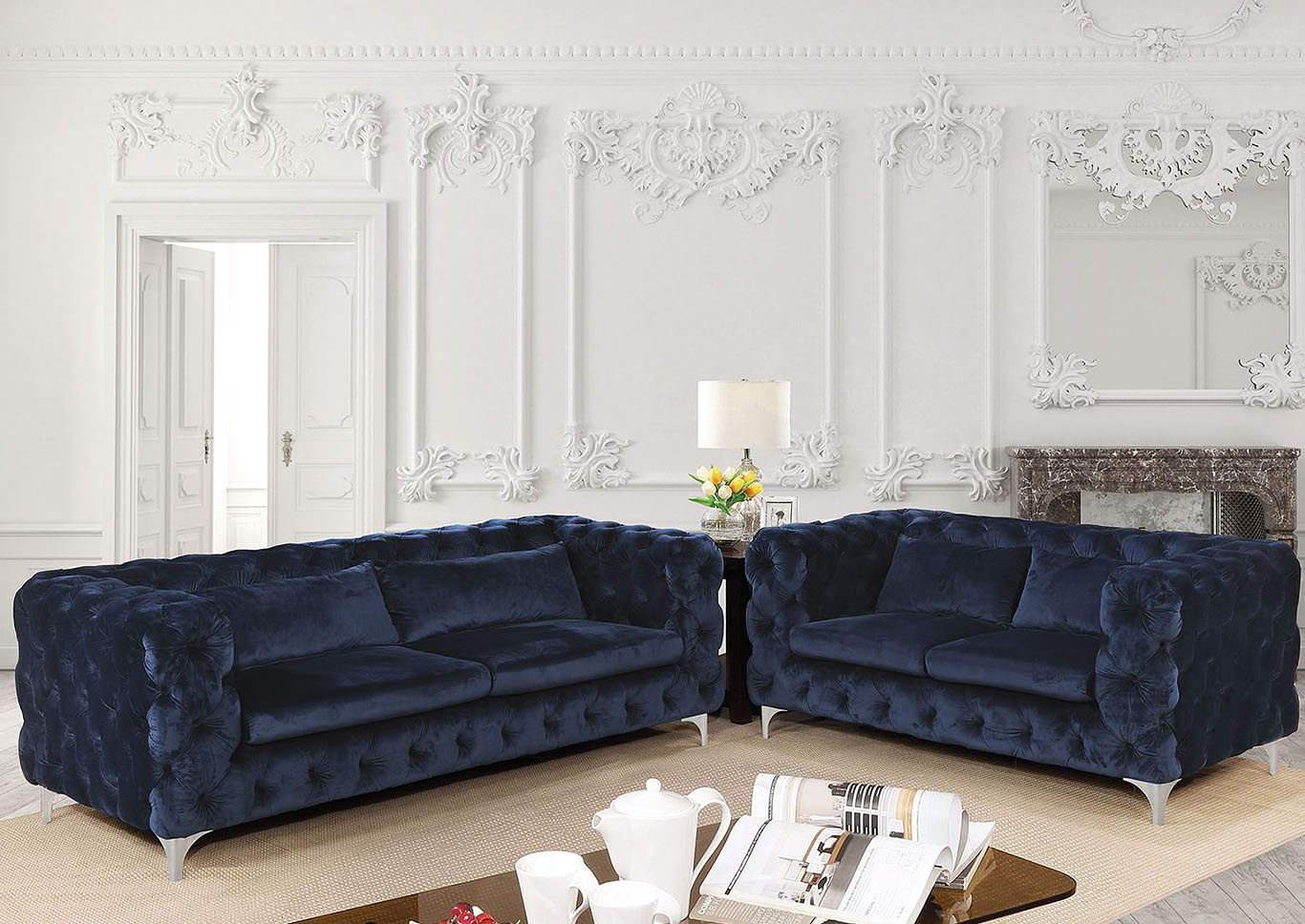 Huron Navy Flannelette Sofa,Furniture of America