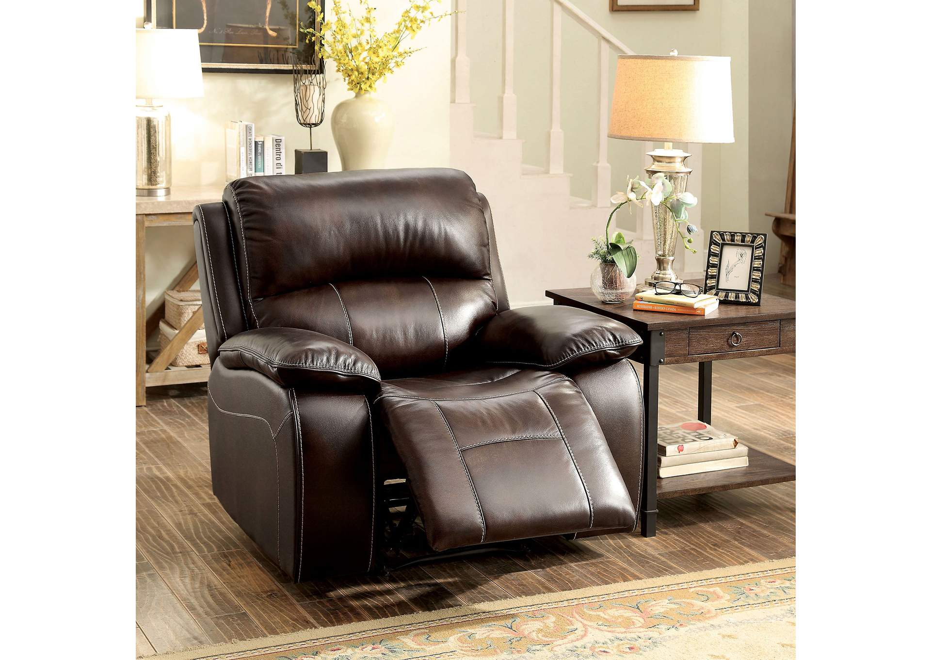 Ruth Brown Top Grain Leather Match Reclining Chair,Furniture of America