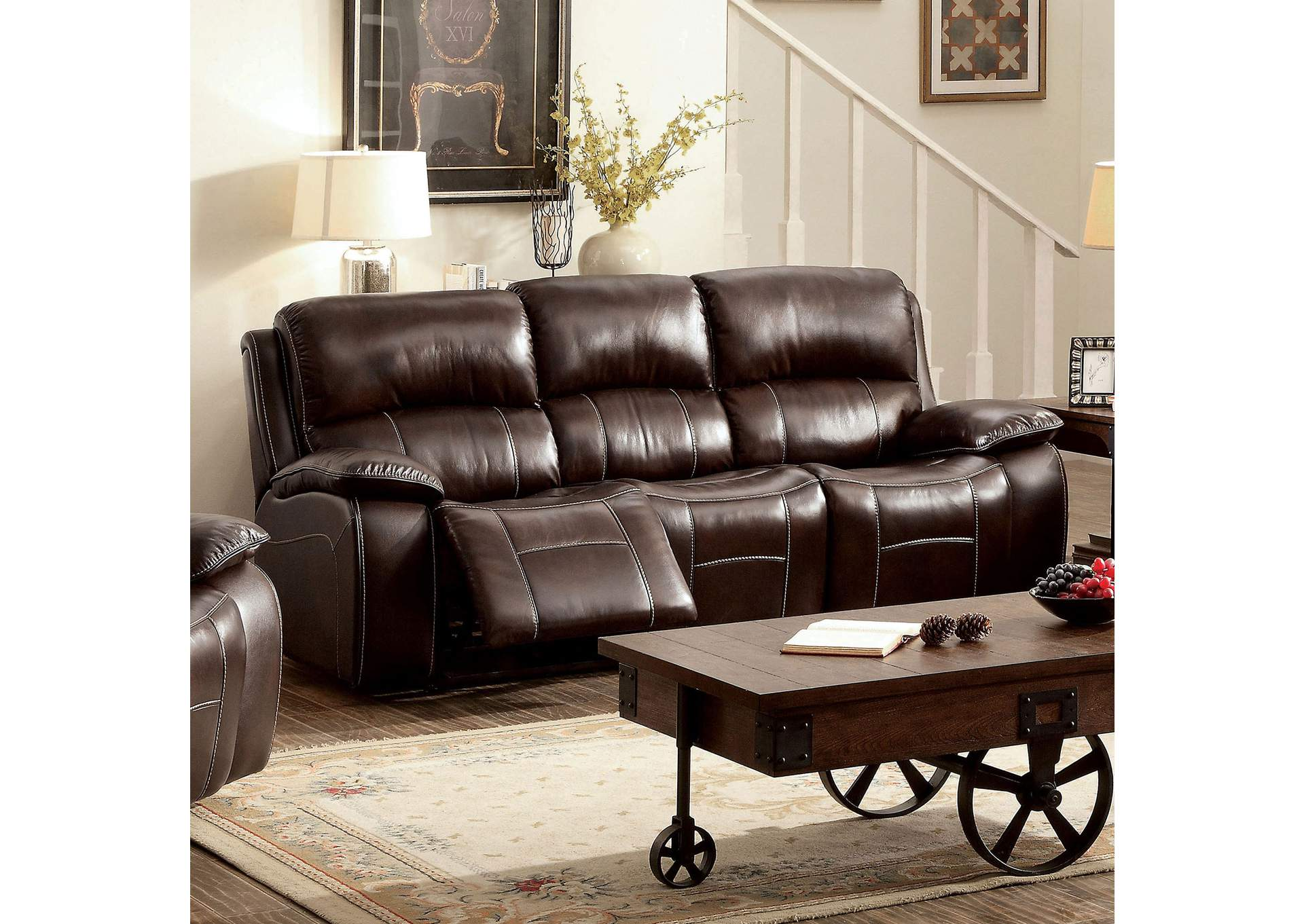 Sparks Furniture Ruth Brown Top Grain Leather Match Sofa